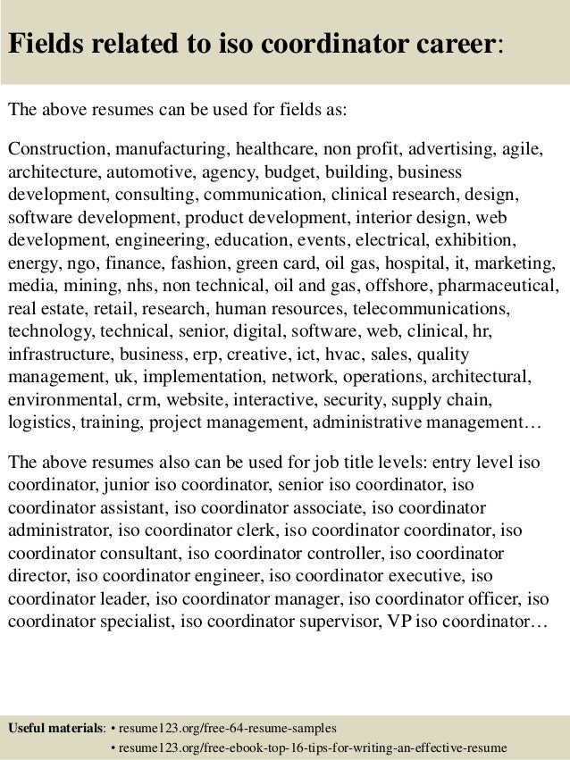 Fields Related To Iso Coordinator .