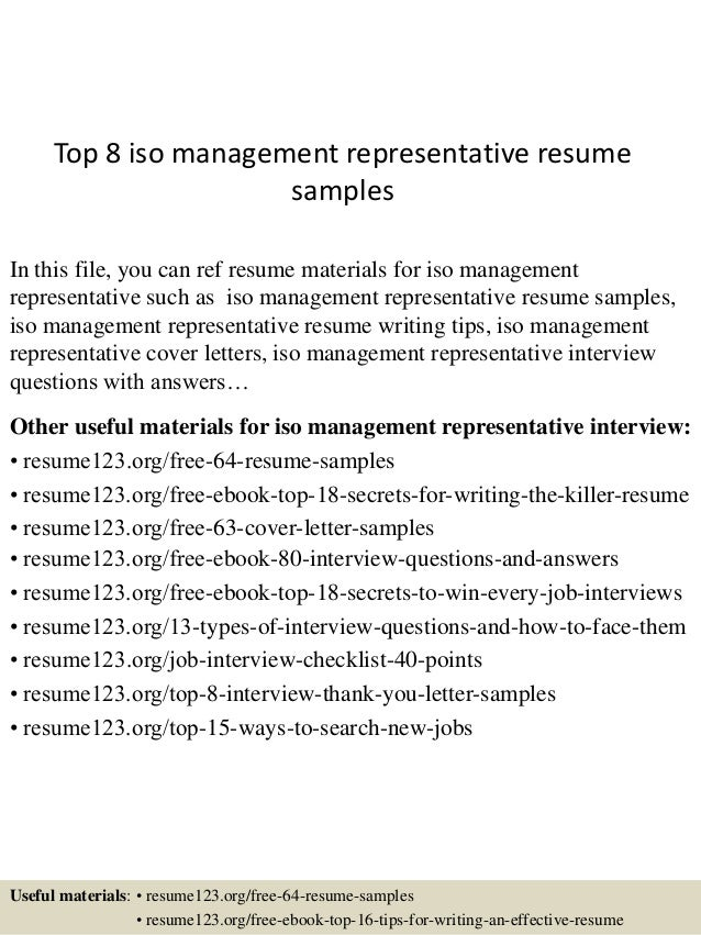 Top 8 Iso Management Representative Resume Samples In This File, You Can  Ref Resume Materials ...  Claims Representative Resume