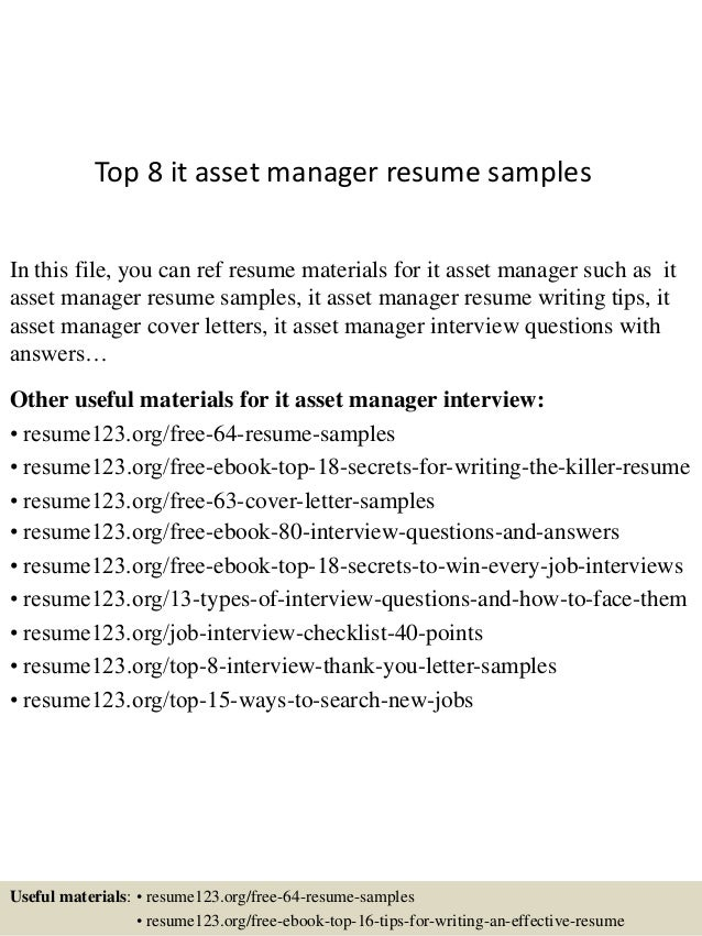top 8 it asset manager resume samples in this file you can ref resume materials - Asset Manager Resume Sample