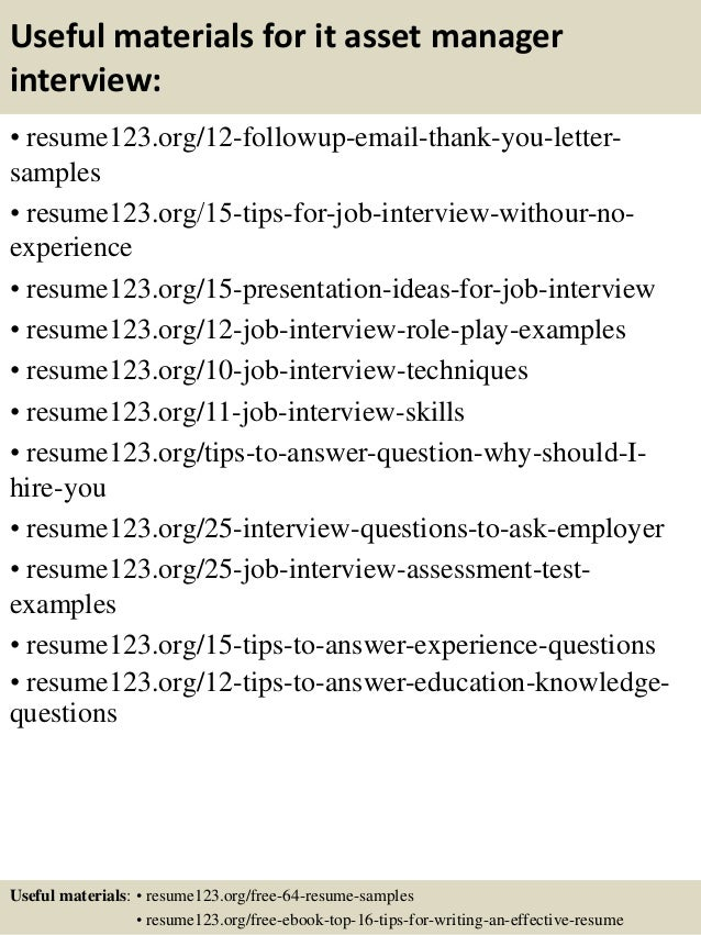 15 useful materials for it asset manager sample resume of digital