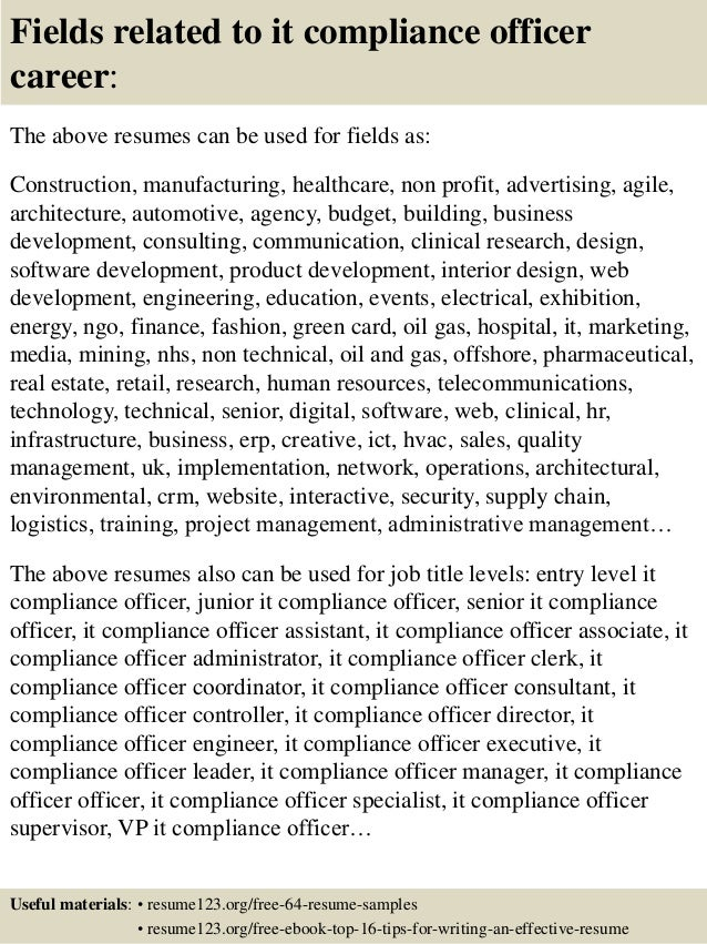 top 8 it compliance officer resume samples