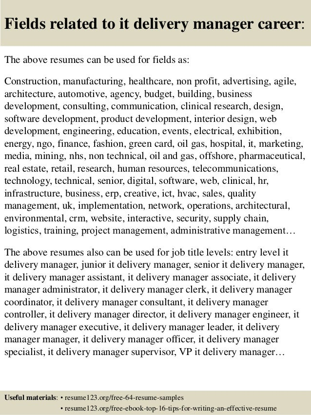 Services Delivery Manager Resume  Service Delivery Manager Resume