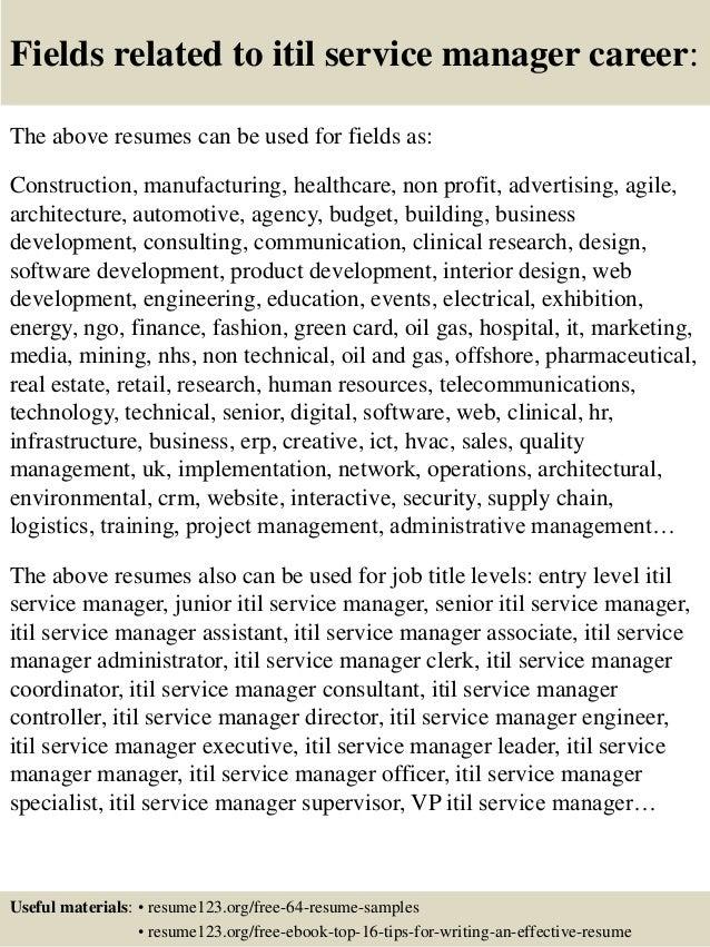 16 fields related to itil service manager career the above resumes