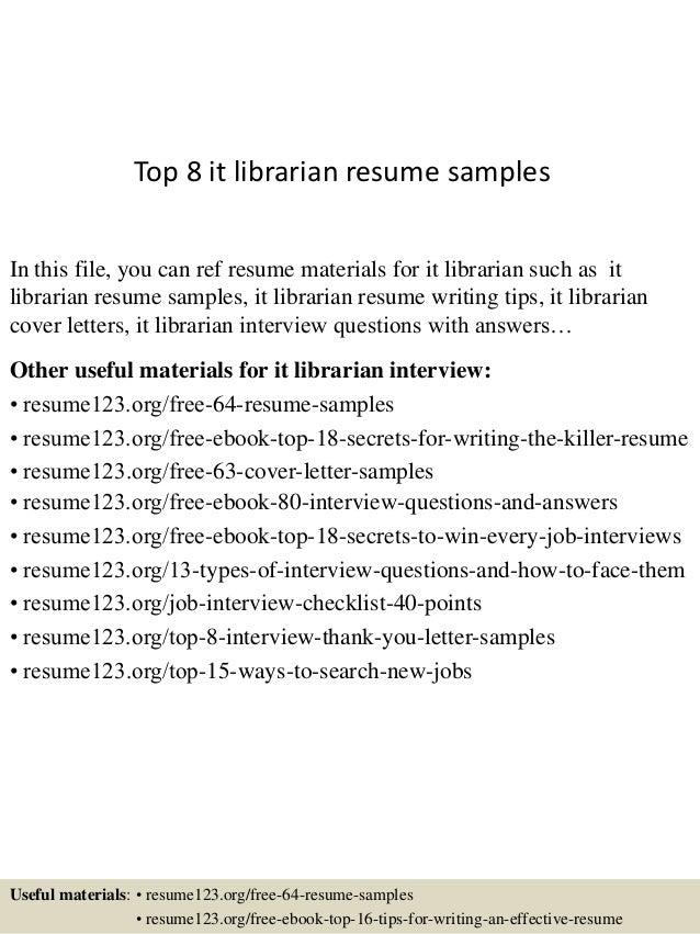 sample librarian resume