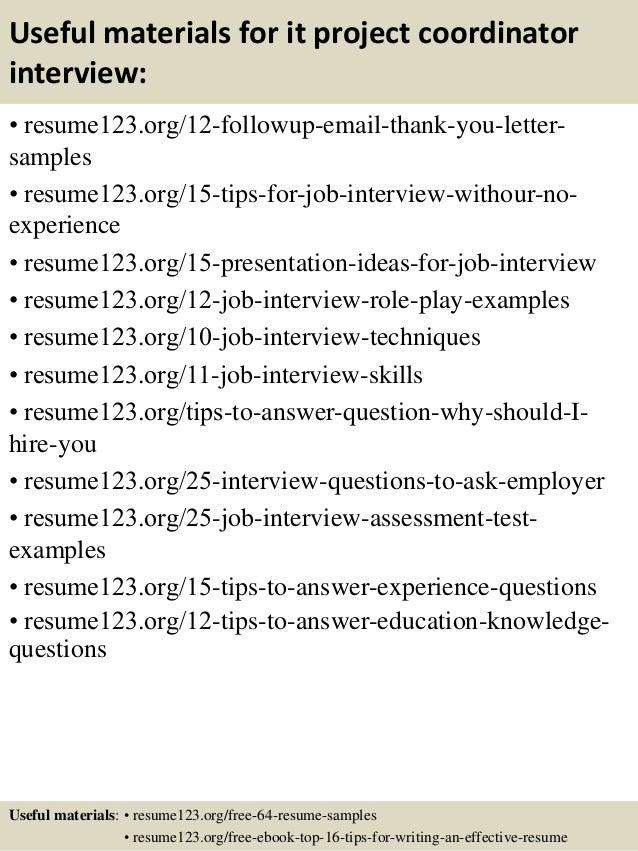 Top 8 it project coordinator resume samples