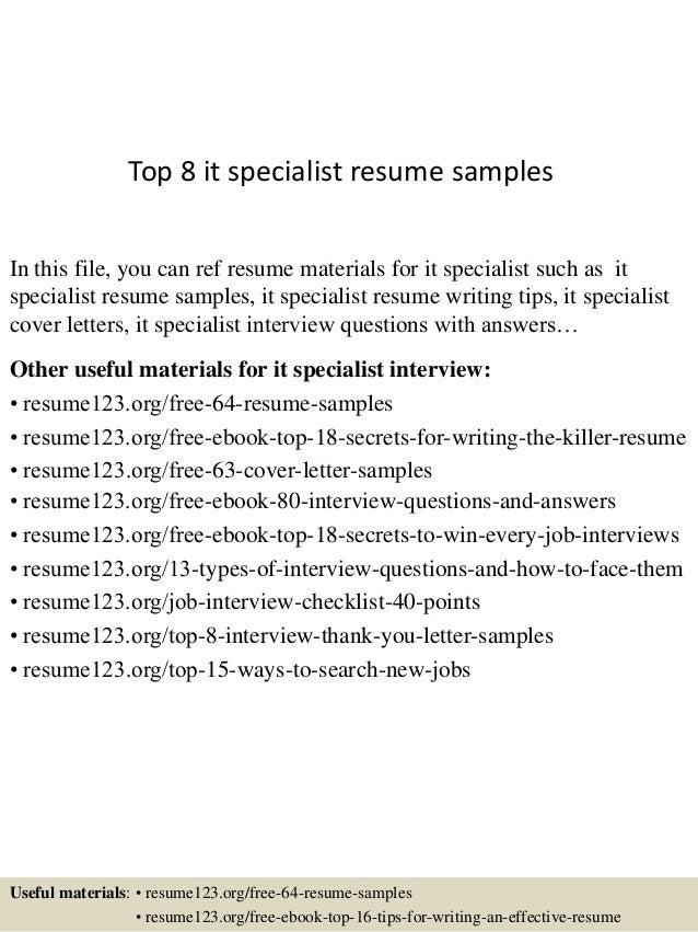 it specialist resume