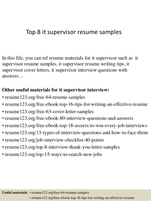 top 8 it supervisor resume samples in this file you can ref resume materials for