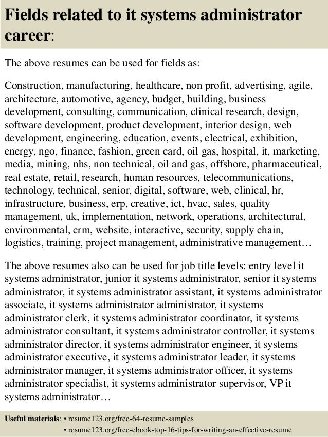 Resume Sample Resume Junior System Administrator top 8 it systems administrator resume samples 16 fields related to administrator