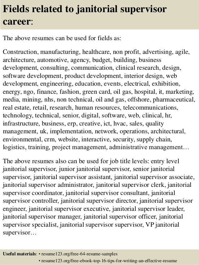 Resume Resume Examples For Janitorial Supervisor top 8 janitorial supervisor resume samples 16 fields related to supervisor