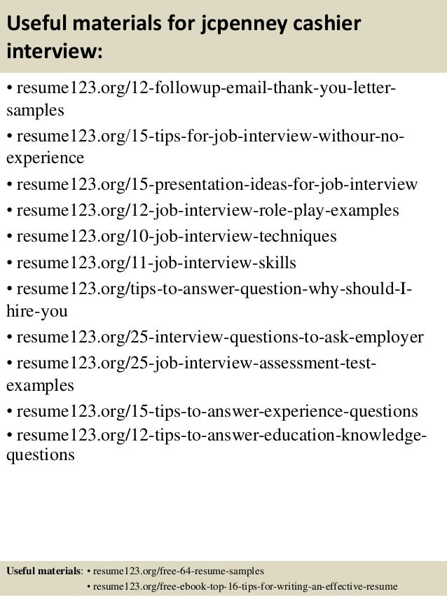 Top  Jcpenney Cashier Resume Samples