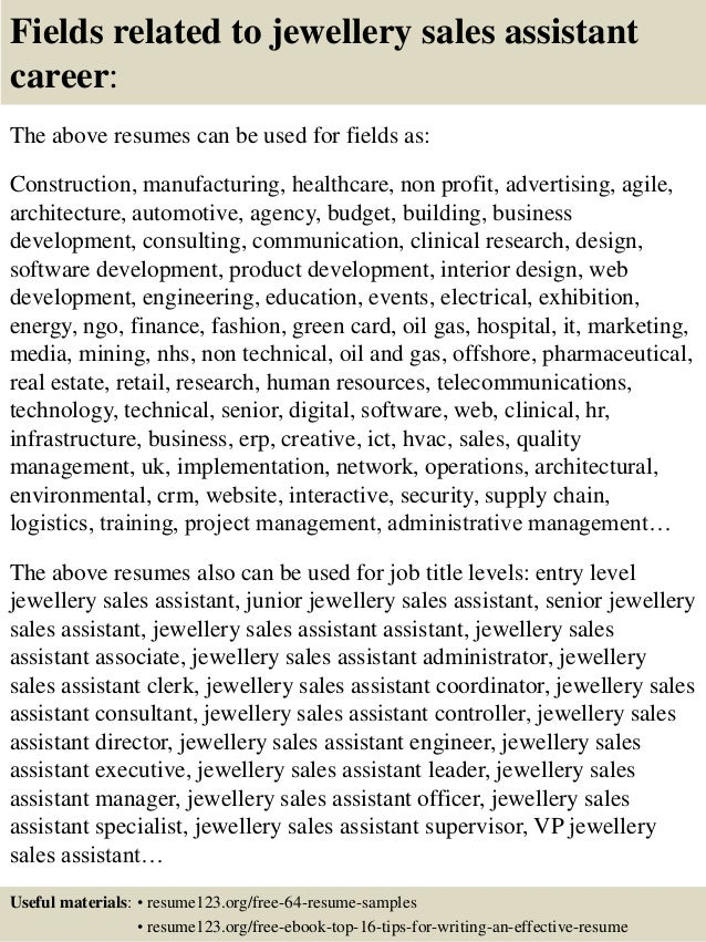 Resume Sample Resume For Jewelry Sales Manager Top 8 Jewellery Sales  Assistant Resume Samples 16 Fields  Jewelry Sales Resume