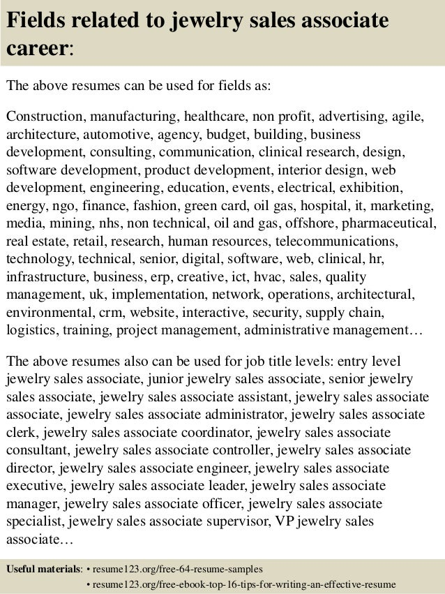 Free Jewelry Sales Associate Resume Template Sample MS Word Resume Examples  Sales Associate Resume Examples Development