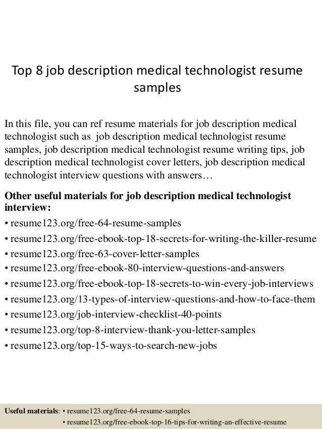 top 8 job description medical technologist resume samples in this file you can ref resume - Medical Technologist Resume