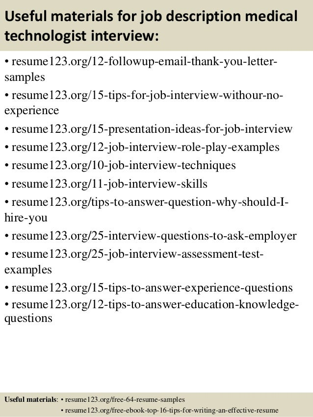 Top 8 Job Description Medical Technologist Resume Samples