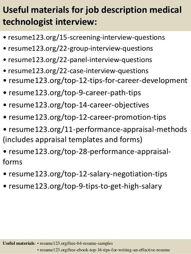top 8 job description medical technologist resume samples