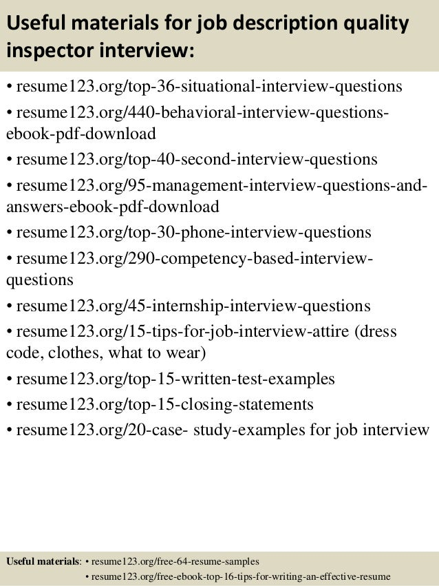 ... 12. Useful Materials For Job Description Quality Inspector ...