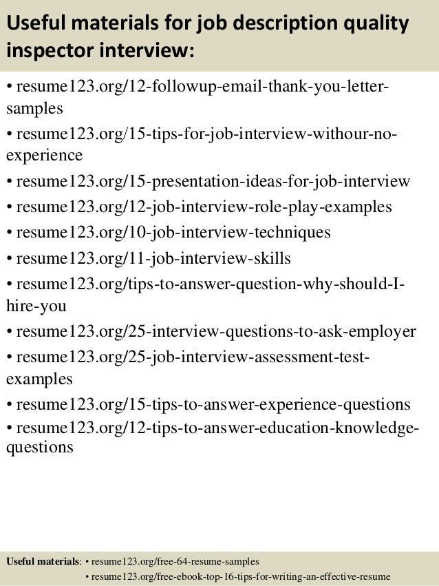 14 useful materials for job description quality inspector