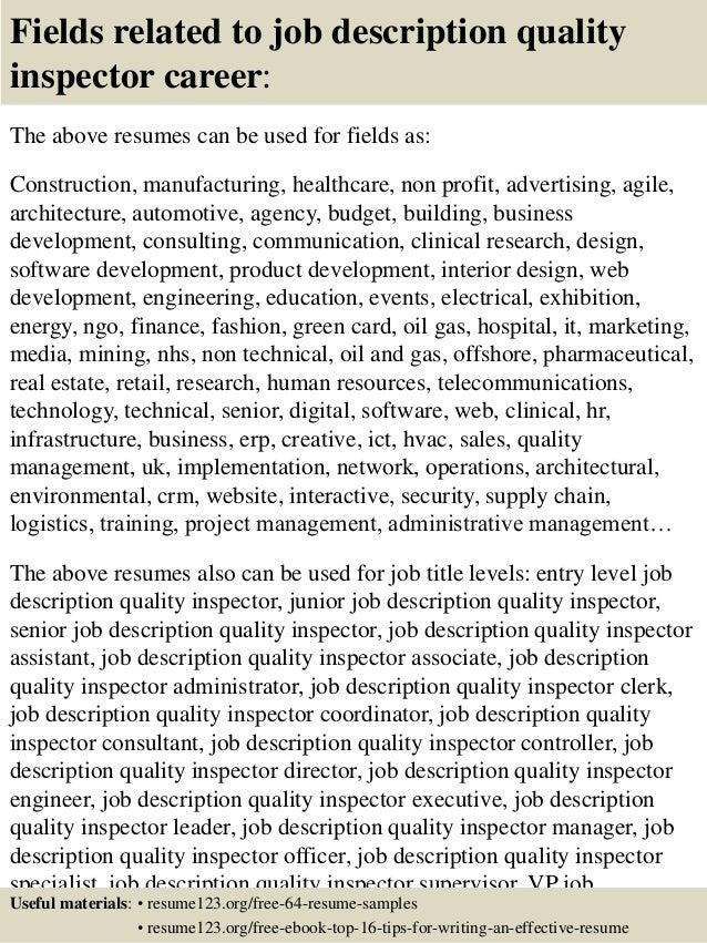 Top 8 job description quality inspector resume samples