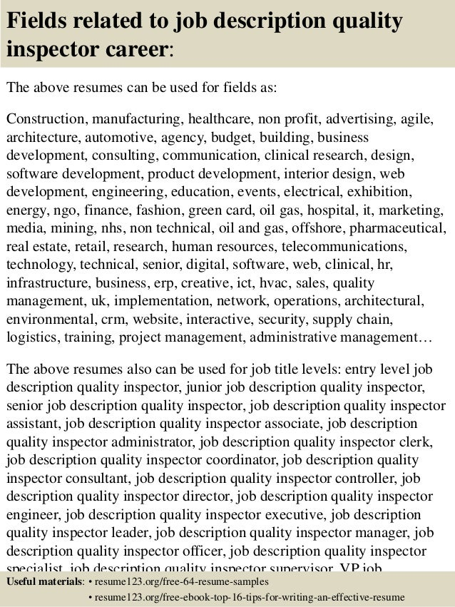 16 fields related to job description quality inspector