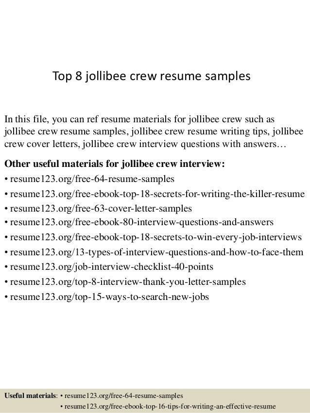 jollibee resume