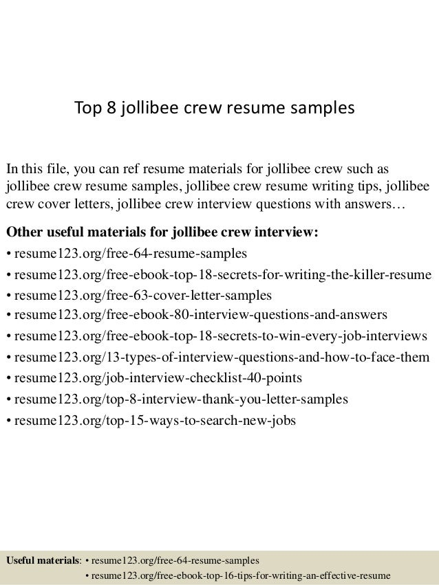 Top 8 jollibee crew resume samples In this file, you can ref resume  materials for ...