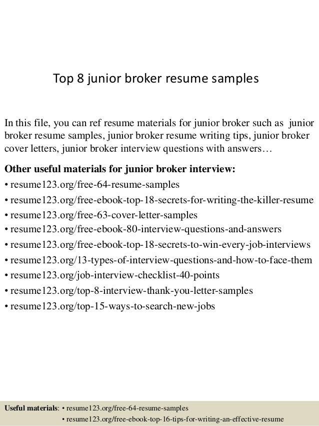 Insurance Broker Resume Constescom   Floor Broker Cover Letter