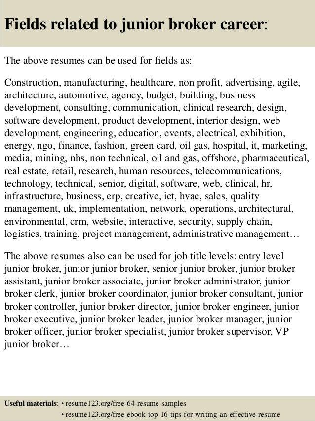 Top 8 junior broker resume samples – Stock Broker Resume