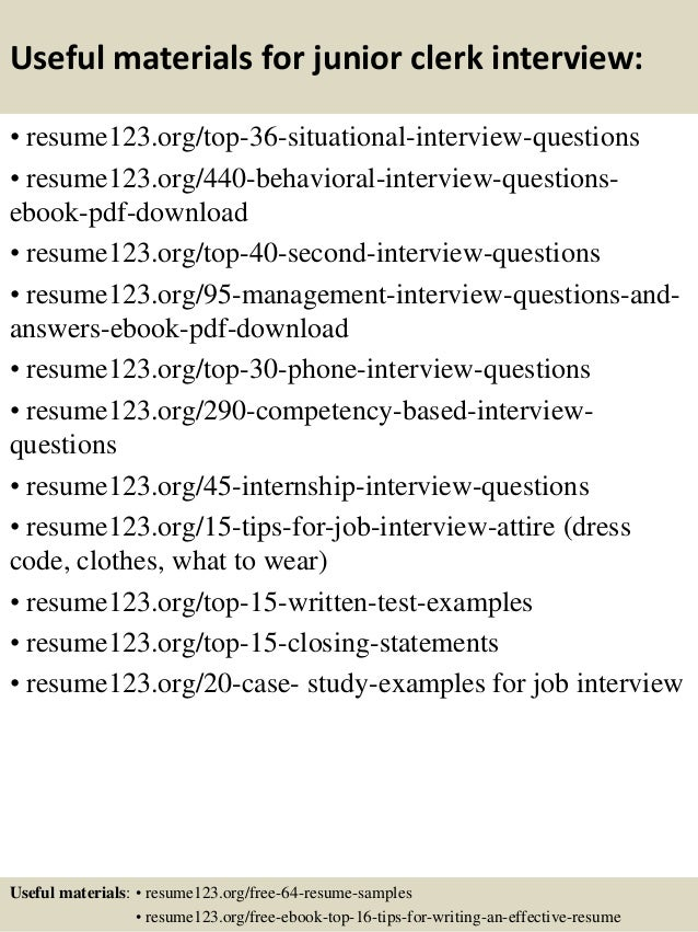 Top 8 junior clerk resume samples