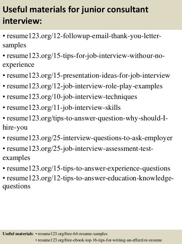 14 useful materials for junior consultant - Junior Consultant Resume