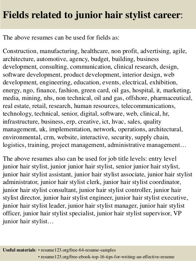 Top 8 junior hair stylist resume samples – Hair Stylist CV Template
