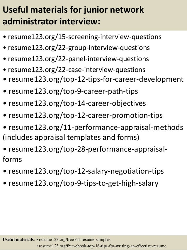 15 useful materials for junior network administrator - Network Administrator Resume Samples