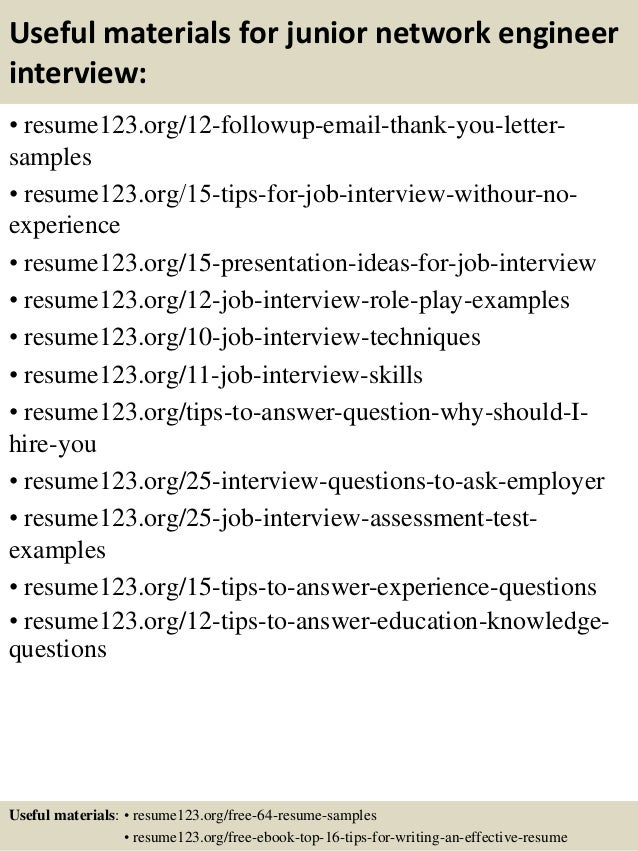 14 useful materials for junior network engineer - Junior Network Engineer Sample Resume