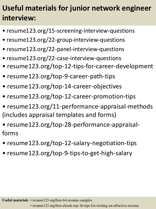 15 useful materials for junior network engineer - Junior Network Engineer Sample Resume