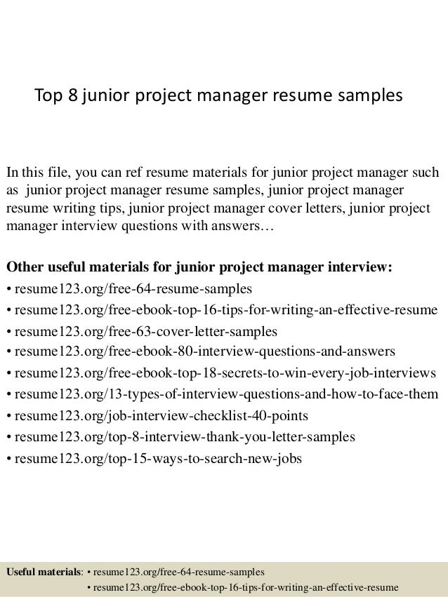 top 8 junior project manager resume samples in this file you can ref resume materials - Project Manager Resumes Samples