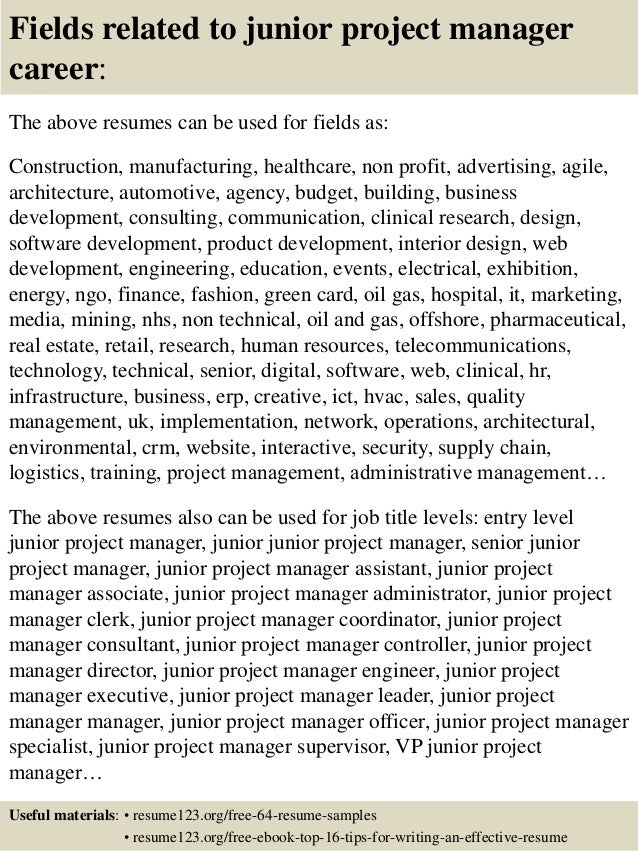 Resume Sample Resume Of Junior Project Manager top 8 junior project manager resume samples 16 fields related to manager