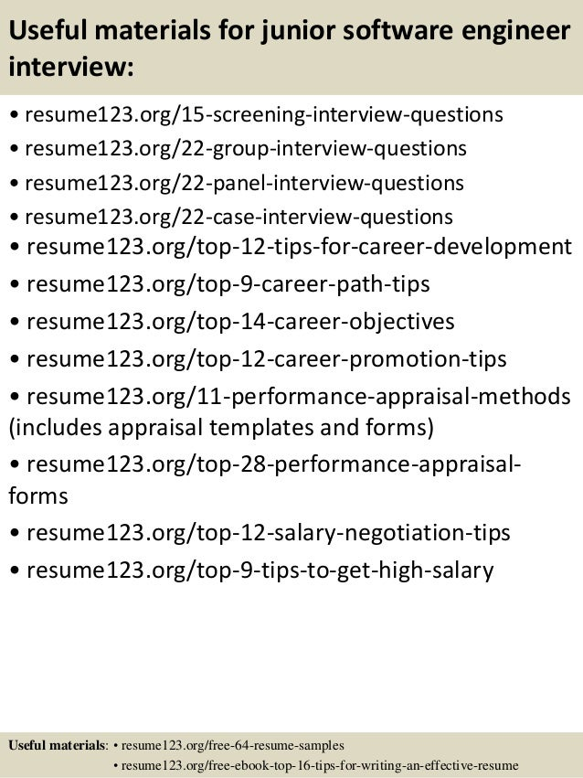 15 useful materials for junior software engineer - Sample Software Engineer Resume