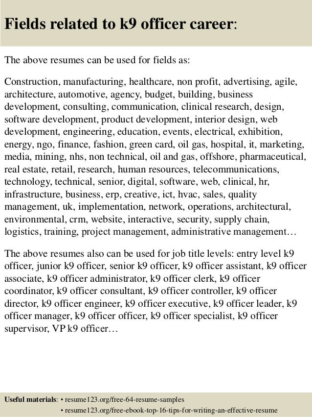 top 8 k9 officer resume samples