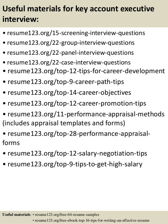 15 useful materials for key account executive - Account Executive Resume Sample