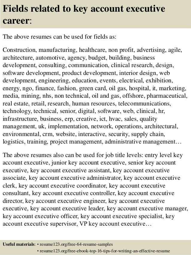 Top 8 key account executive resume samples
