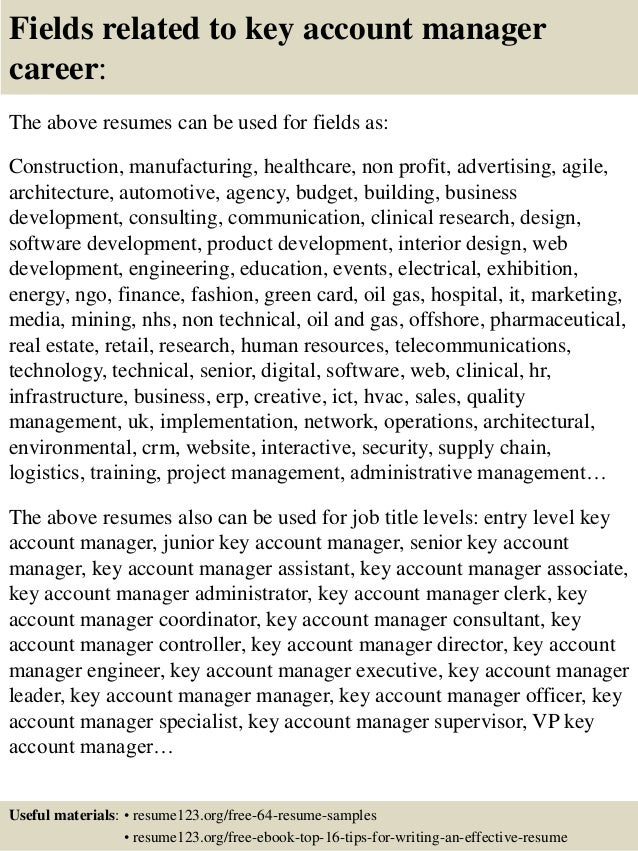 ... 16. Fields Related To Key Account Manager ...  Key Account Manager Resume