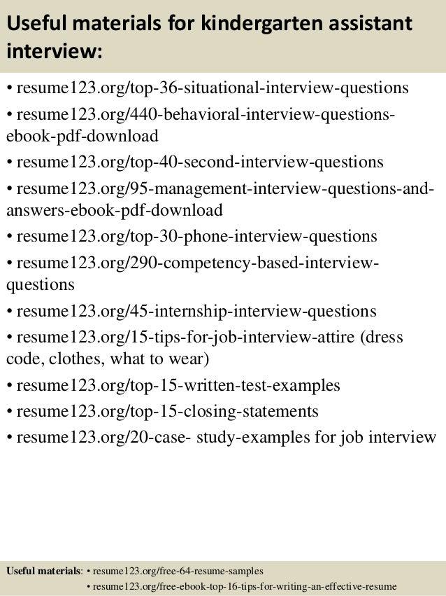 Top 8 kindergarten assistant resume samples