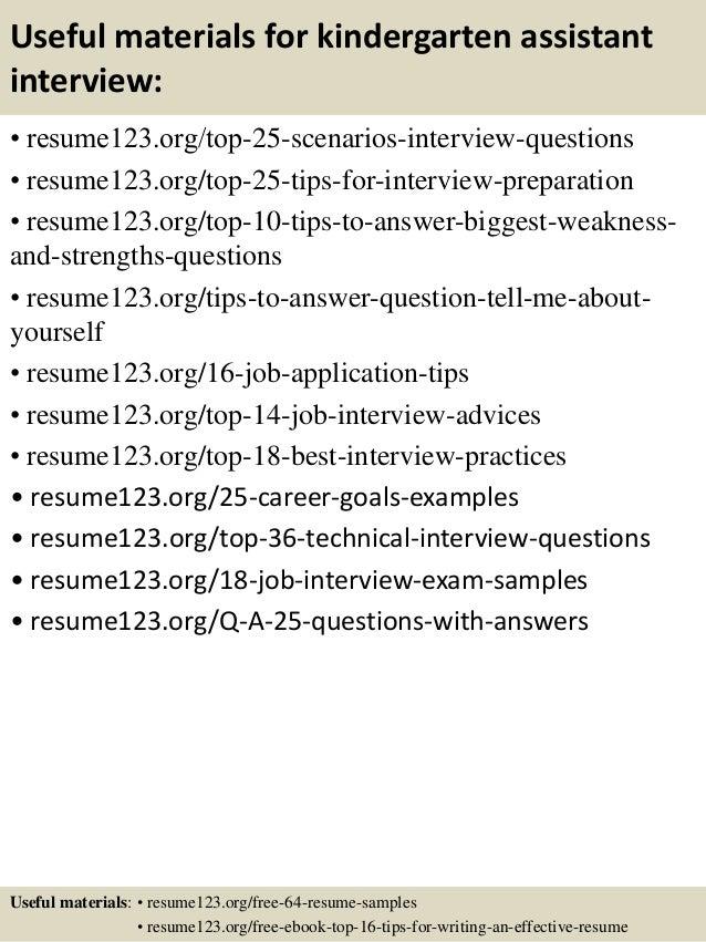 resume for kindergarten assistant