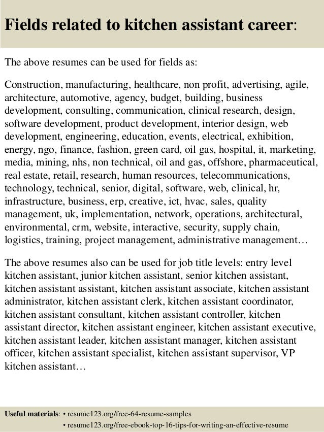 16 Fields Related To Kitchen Assistant