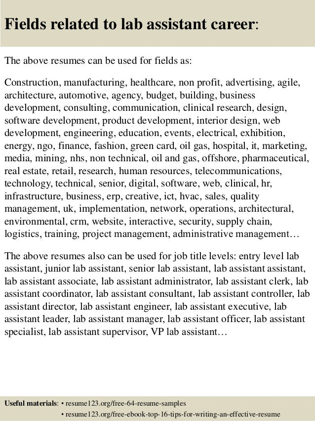 Top 8 lab assistant resume samples