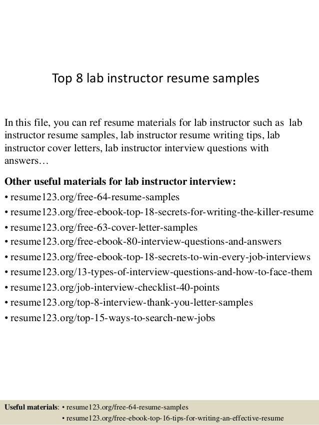 Top 8 Lab Instructor Resume Samples