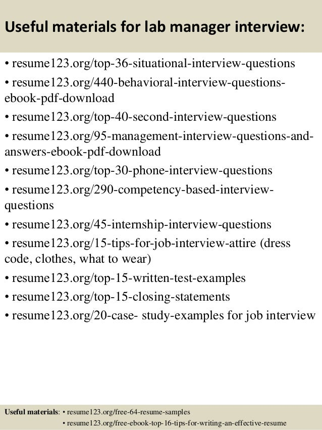 ... 12. Useful Materials For Lab Manager ...  Lab Manager Resume