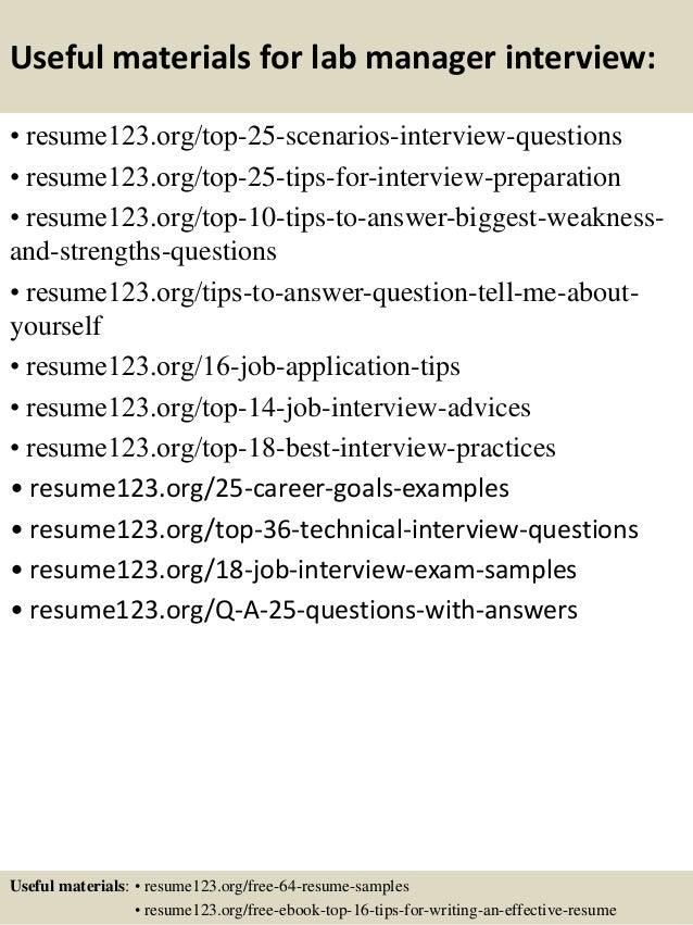 ... 13. Useful Materials For Lab Manager ...  Lab Manager Resume