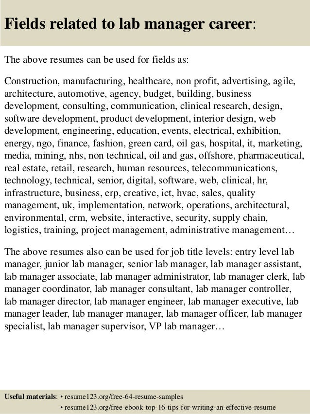 ... 16. Fields Related To Lab Manager ...  Lab Manager Resume