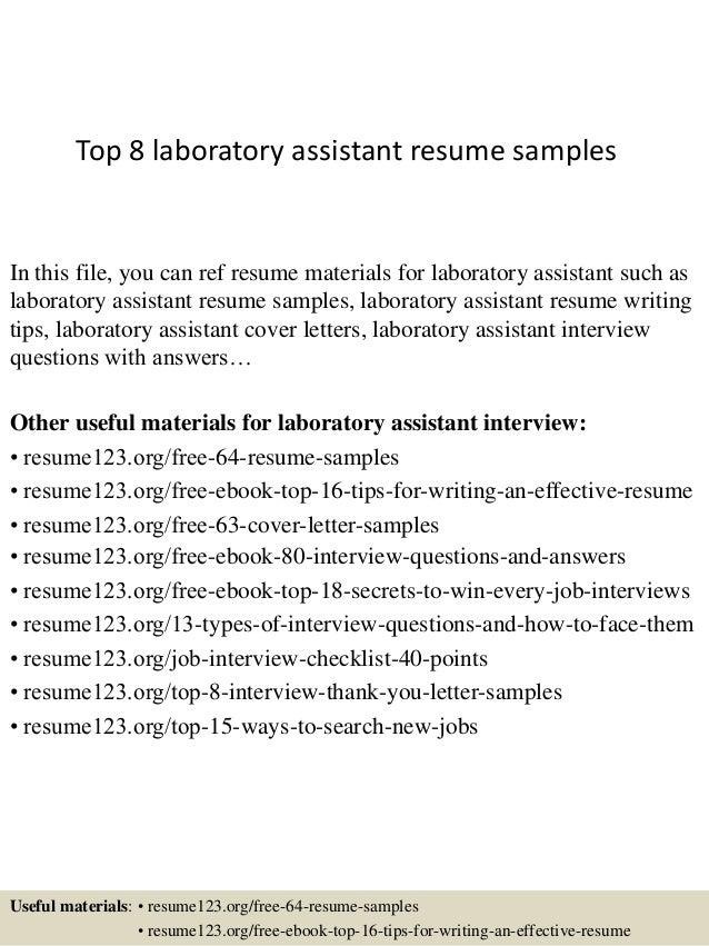 Lab Assistant Resume Sample - Professional Resume Templates •