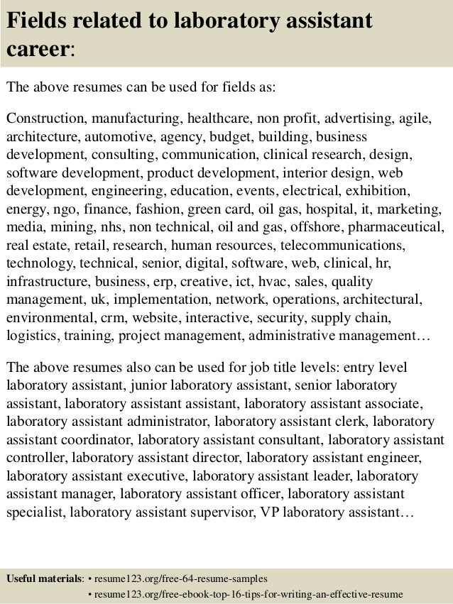 ... 16. Fields Related To Laboratory Assistant Career: The Above Resumes ...